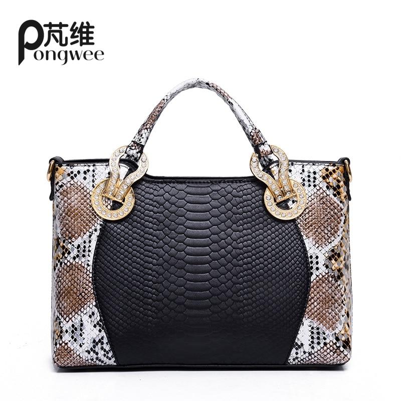 ФОТО PONGWEE Individual Fashion Snake Designer Big Capacity Ladies Bags New Tassel Embossed PU Leather Cross Body Handbags Women