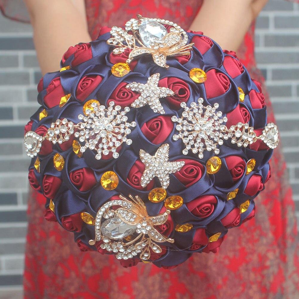 Personnalisé nouveau Vintage mariée Bridemaids Bouquet Satin Rose fleur cristal strass broche mariage Bouquets Floral décoratif