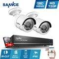 SANNCE 4CH 720 P AHD CCTV Sistema 960 H DVR de Vigilancia de 1080 P NVR con 2 unids blanco 1280*720 p 1.0MP Cámaras P2P Remoto Alerta de Correo Electrónico