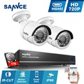 SANNCE 4CH 720P CCTV System AHD 960H Surveillance DVR 1080P NVR with 2pcs white 1280* 720p 1.0MP Cameras P2P Remote Email Alert
