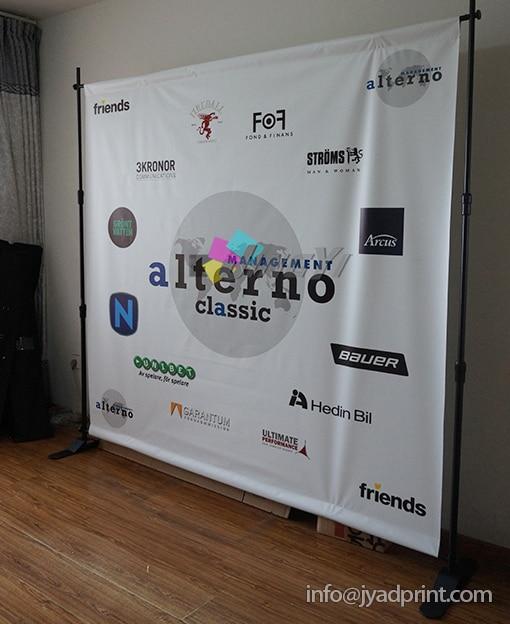 Portable Exhibition Backdrop : Custom portable media backdrop jumbo banner display for
