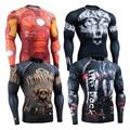De usos Múltiples MMA Ajustados Tops Camisas Full Print Manga Larga Rash Guard Men Gráfico Completa Camisas de Compresión Gear Un Regalos especiales