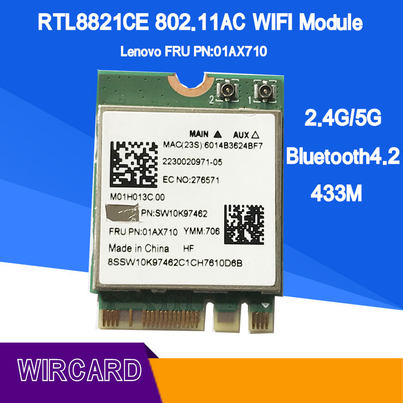 RTL8821CE 802.11AC 1X1 Wi-Fi+BT 4.2 Combo Adapter Card FRU 01AX710 Wireless Network Card For Laptop