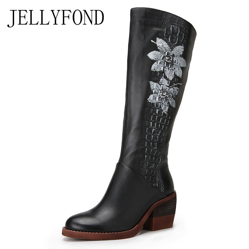 2018 Retro Flower Print Genuine Leather Over The Knee Thigh High Boots Women Platform High Heels Riding Boots Winter Shoes Woman everlast свитер
