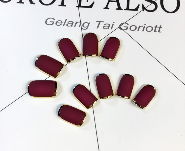 Red Dates Color New Lady nails Rose Red Matte Fake Nails Metallic ...