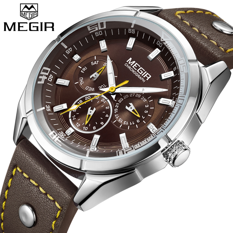 2018 MEGIR Top Luxury Brand Men Watches Man Fashion Quartz Watch Mens Simple Business Wristwatches Male Clock Relogio Masculino цена 2017