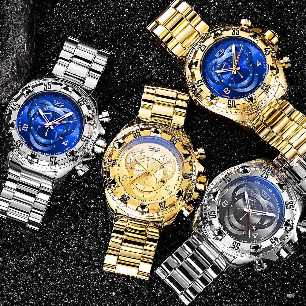 8b80ec77a1d Mens Grande mostrador relógios de ouro de luxo 316L temeite aço ...