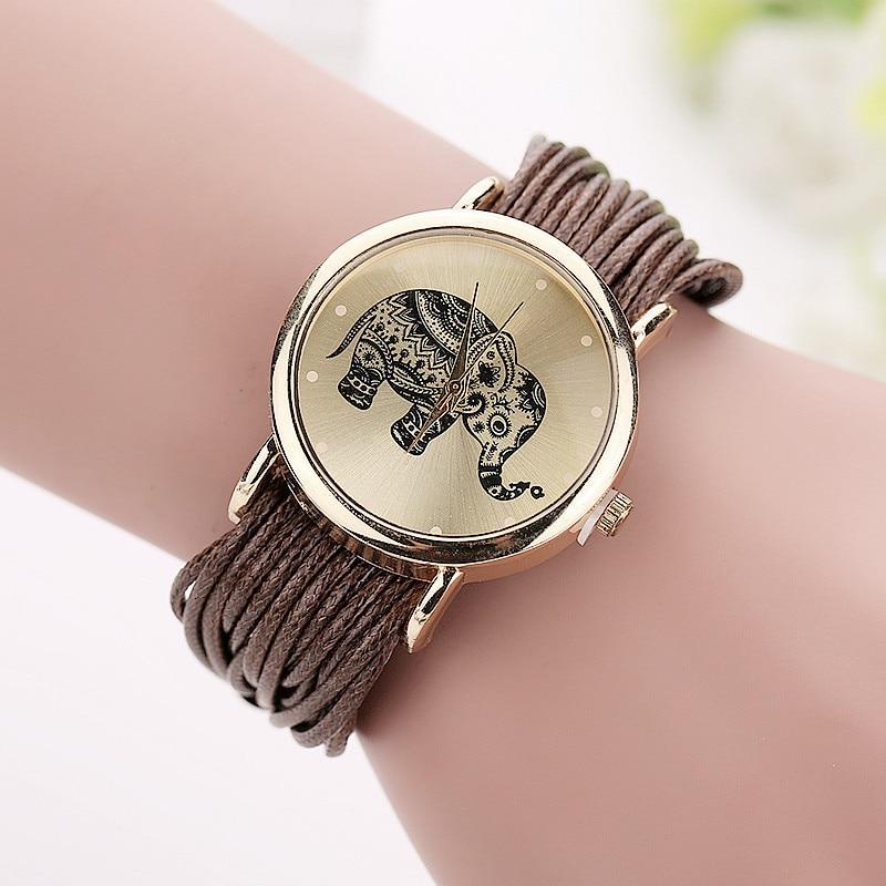 Women Leather Bracelet Fashion Casual Elephant Wrist Watches 2