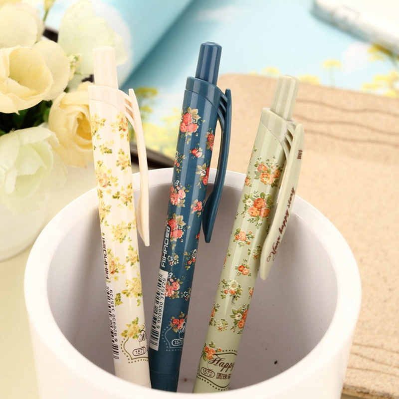 3 pcs/lot New Cute Cartoon Vintage Flower Ballpoint Ball Pens Plastic Kawaii Stationery Creative Gifts