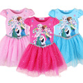 Girls Summer Dress 2015 Casual Short Sleeves Cotton Mesh Princes Girls Dress tutu elsa Children's Dresses kids Clothes k25420