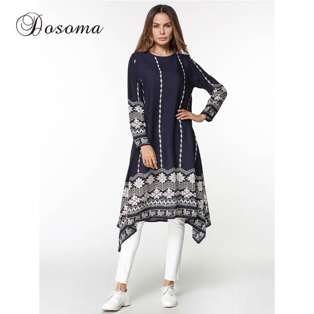 a02352143dfa8 placeholder Women s Shirt Dress Print Muslim Women s Tops Middle East Long  Robe Gowns Basic Tunics slim fit