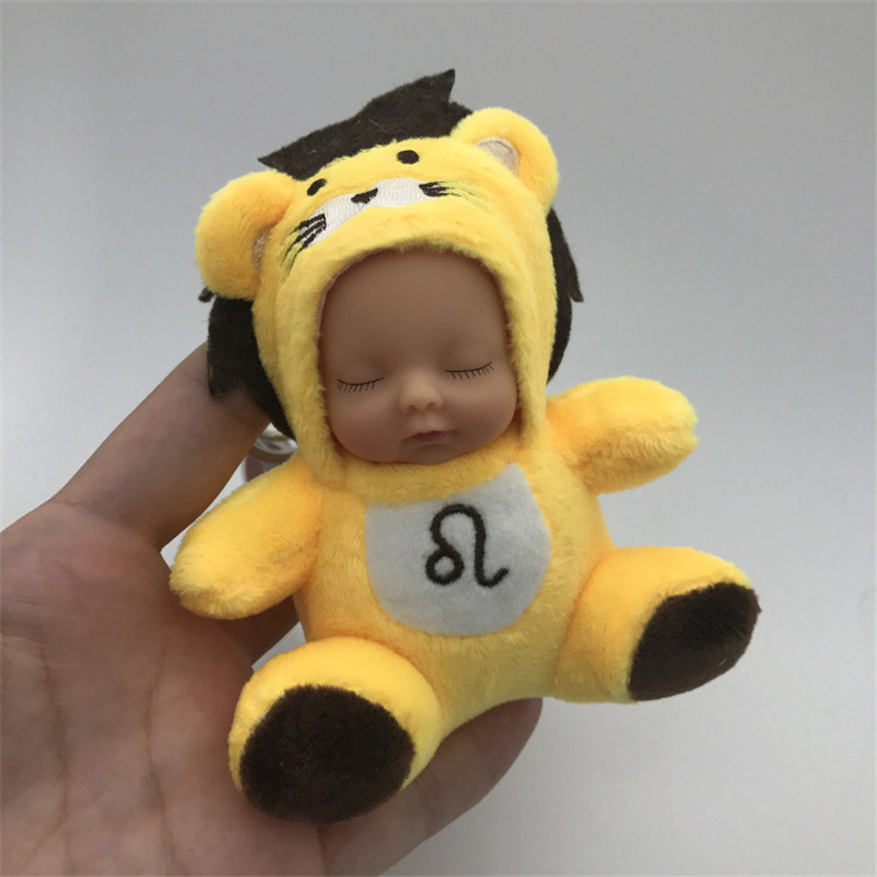2017 12CM Fashion Kawaii Totoro Plush Keychain Pompom Sleeping Baby Doll Key Chain Rings For Women Bag Accessories Car Keyring