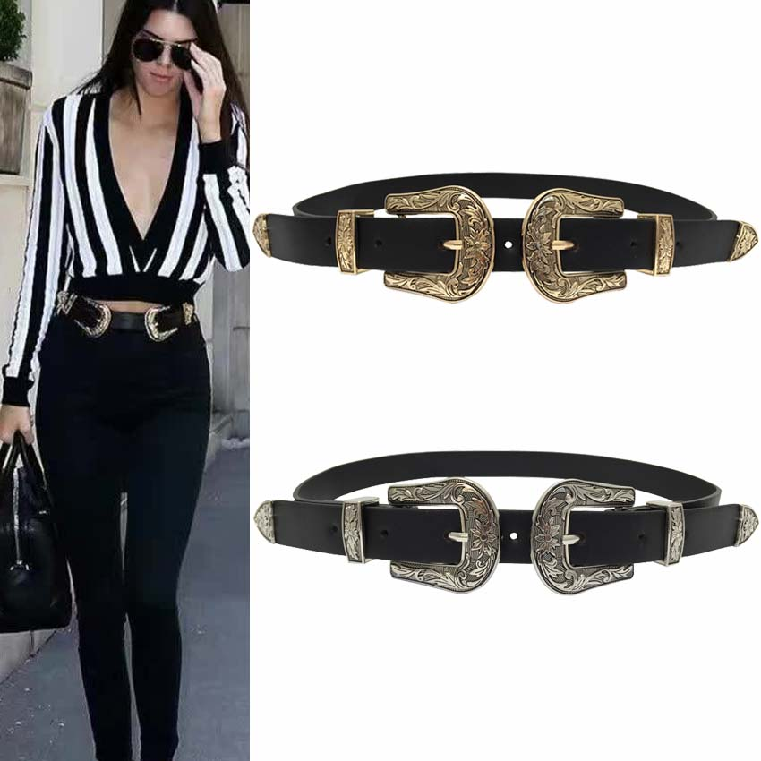 New Hot Fashion Vintage carved design alloy Metal Leather   Belts   for women Double Buckle Waist   Belt   Waistband High Quality female