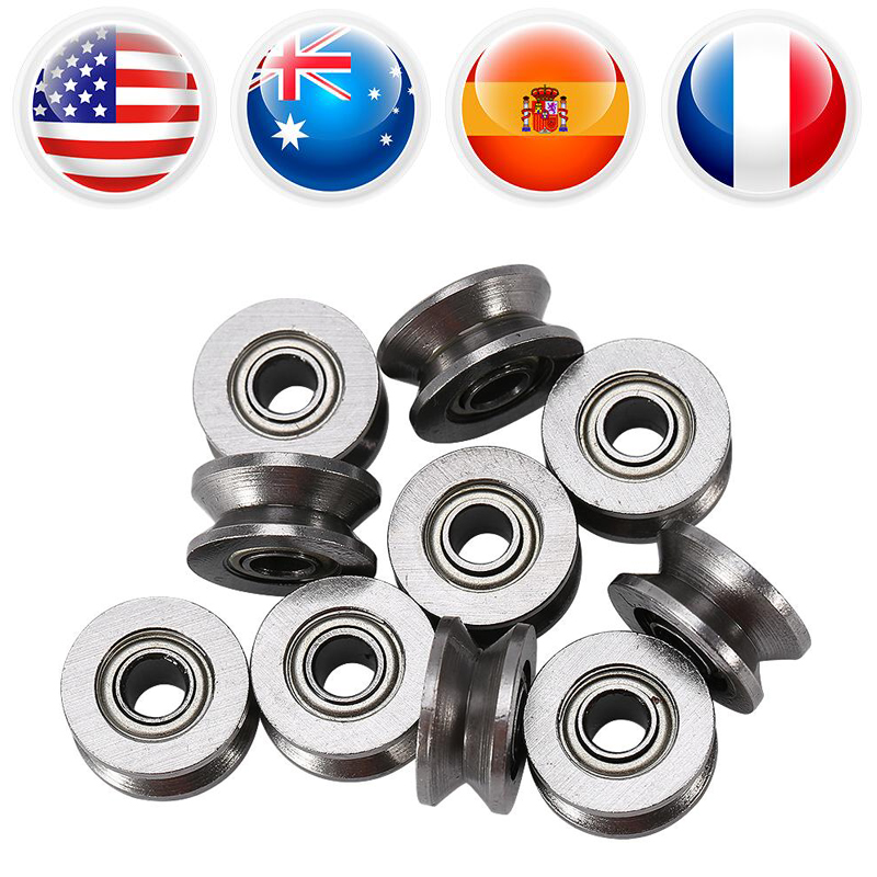 Devoted 10pcs/lot U624zz Bearings U Groove Ball Bearing Guide Pulley For Rail Track Linear Motion System 4*13*7mm
