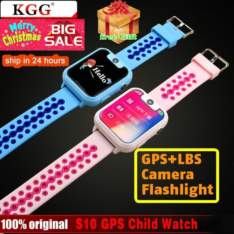 S10 GPS LBS niños reloj inteligente impermeable Cámara tarjeta Sim Niños SOS llamada ubicación localizador del buscador de rastreador bebé GPS reloj