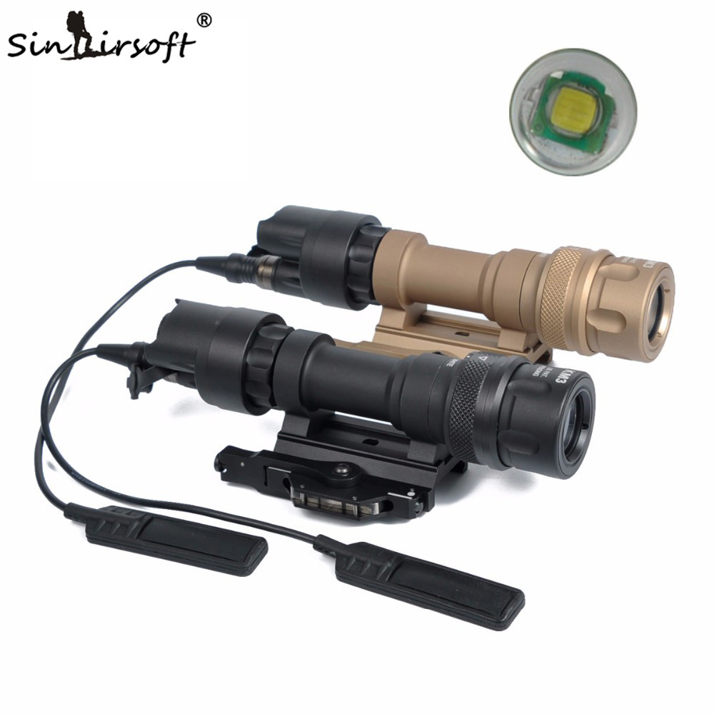 SINAIRSOFT M952V QD Quick Release Tactical Rifle Flashlight Mount Weapon Lights with 400 Lumens for Hunting Gun Black