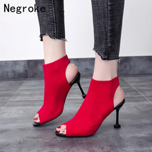 Sexy Womens High Heels Summer Sandals 2019 Fashion Elastic Sock Ankle Boots Open Toe Stiletto Ladies Shoes Booties Sandalia