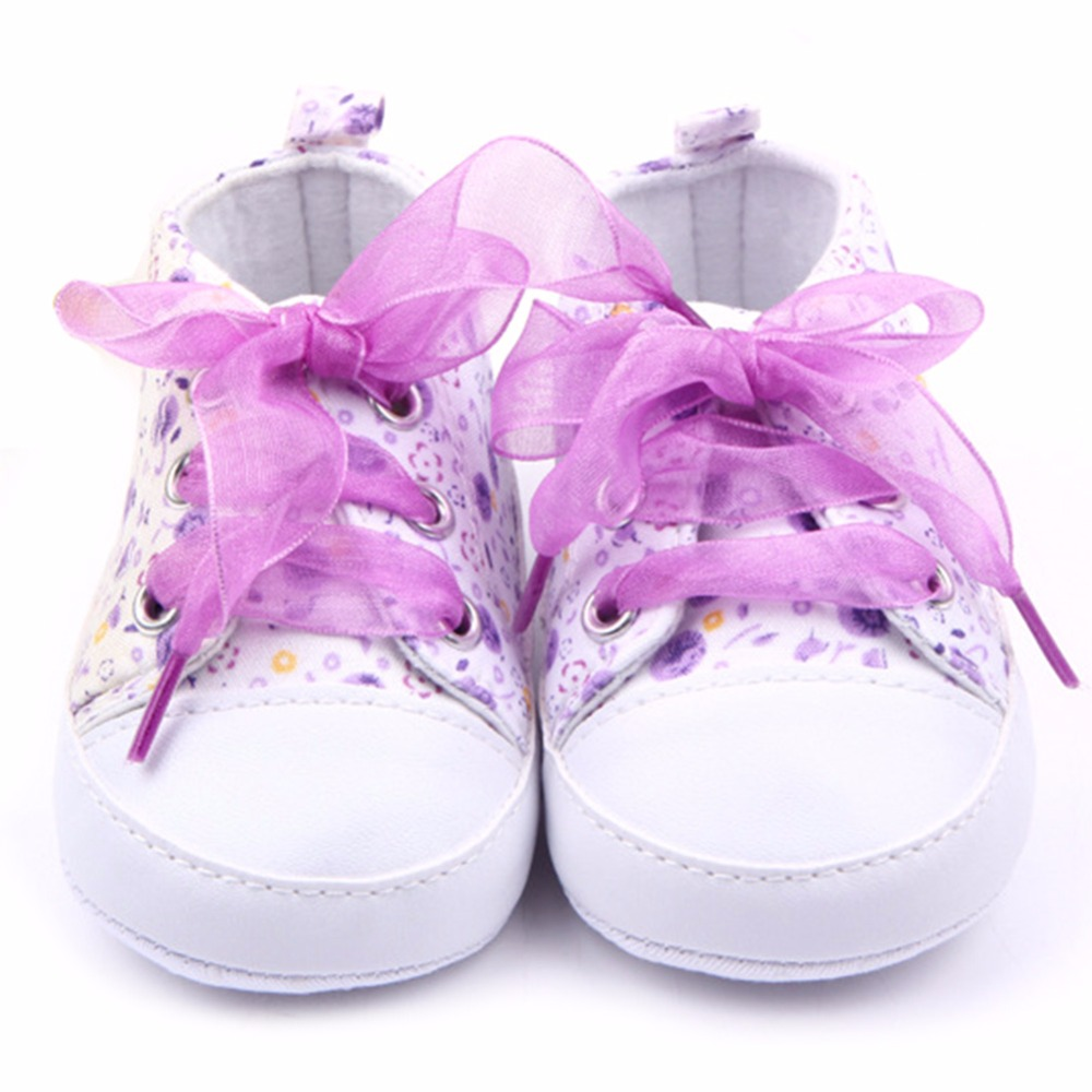 HOT Baby Sko Flower Ribbon Baby Girl Sneaker Lace Up Soft Sole Prewalkers
