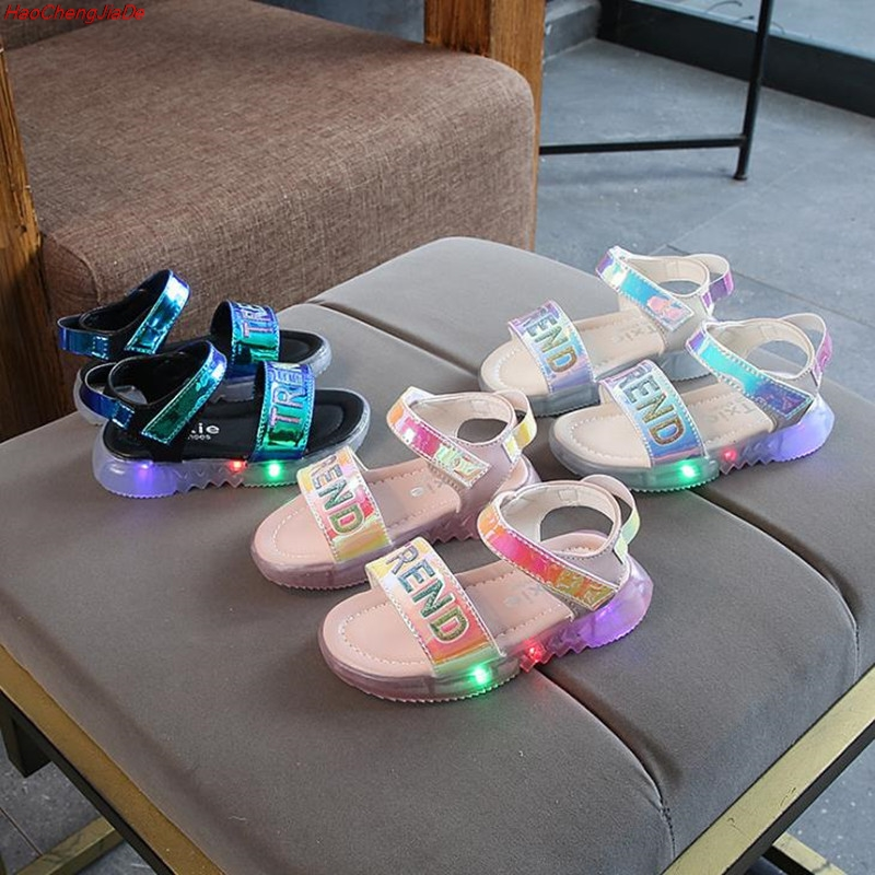 Children Baby Flat Shoes Kids Beach Leather Sandals New Summer Kids Led Glowing Sandals Boys Girls Sport Casual Light ShoesChildren Baby Flat Shoes Kids Beach Leather Sandals New Summer Kids Led Glowing Sandals Boys Girls Sport Casual Light Shoes