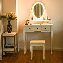 High Quality 5 Drawers Vanity Dressing Table Stool Set with 12 LED Bulbs White Bedroom Furniture Dresser Table and Chair HW60151(China)