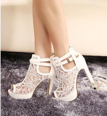 Nice Summer New Lace Sexy Women Platform Shoes Pumps Open Toe Sandals Mesh High Heels Shoes Black White creativesugar see through mesh lace open toe woman boot sandals high heels 4 1 2 inches party sexy shoes spring summer shoes