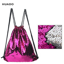Fashion Drawstring Bags backpack Double Color Sequins Woman Lady Female Travel Drawstring Backpack
