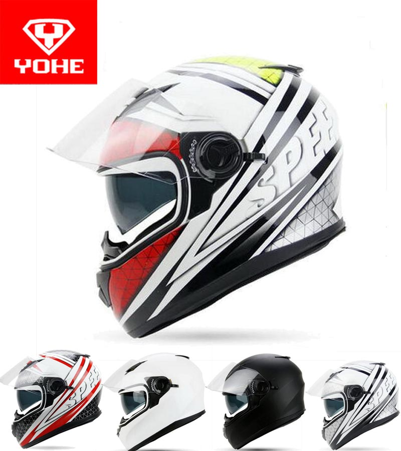 2017 New YOHE Full Face Motorcycle helmet YH-970 double lens motorbike helmets made of ABS and PC lens with Speed color 4 size 2017 new yohe half face motorcycle helmet yh 868 abs motorbike helmet double lens electric bicycle helmets for four seasons