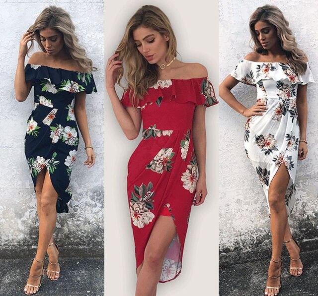 709a15a95c Mulheres moda Verão Floral Boho Praia Vestido de Noite Vestido Longo Maxi