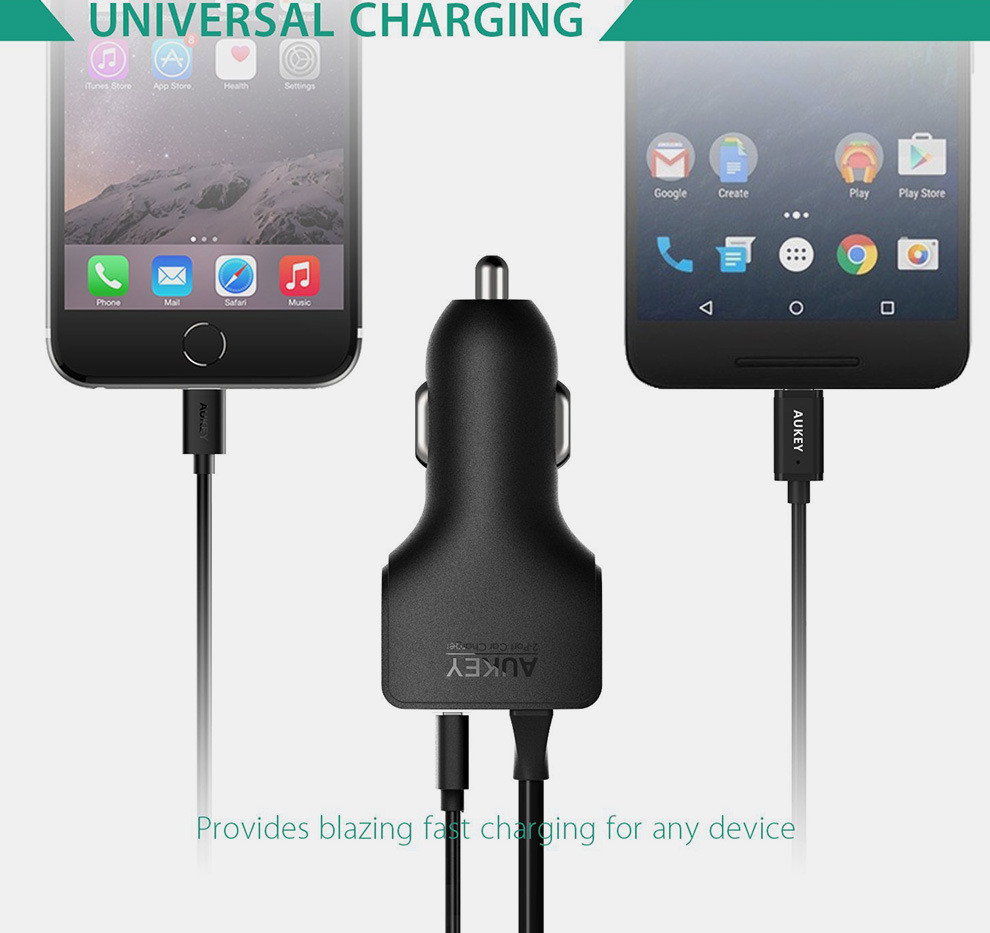 AUKEY AIPower Car phone Charger with Type-C cable (10)