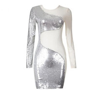 2017 New Luxe Shimmer Beads Embellished Sheer Mesh Patchwork Long Sleeves Wholesale Women Celebrity Bodycon Dress