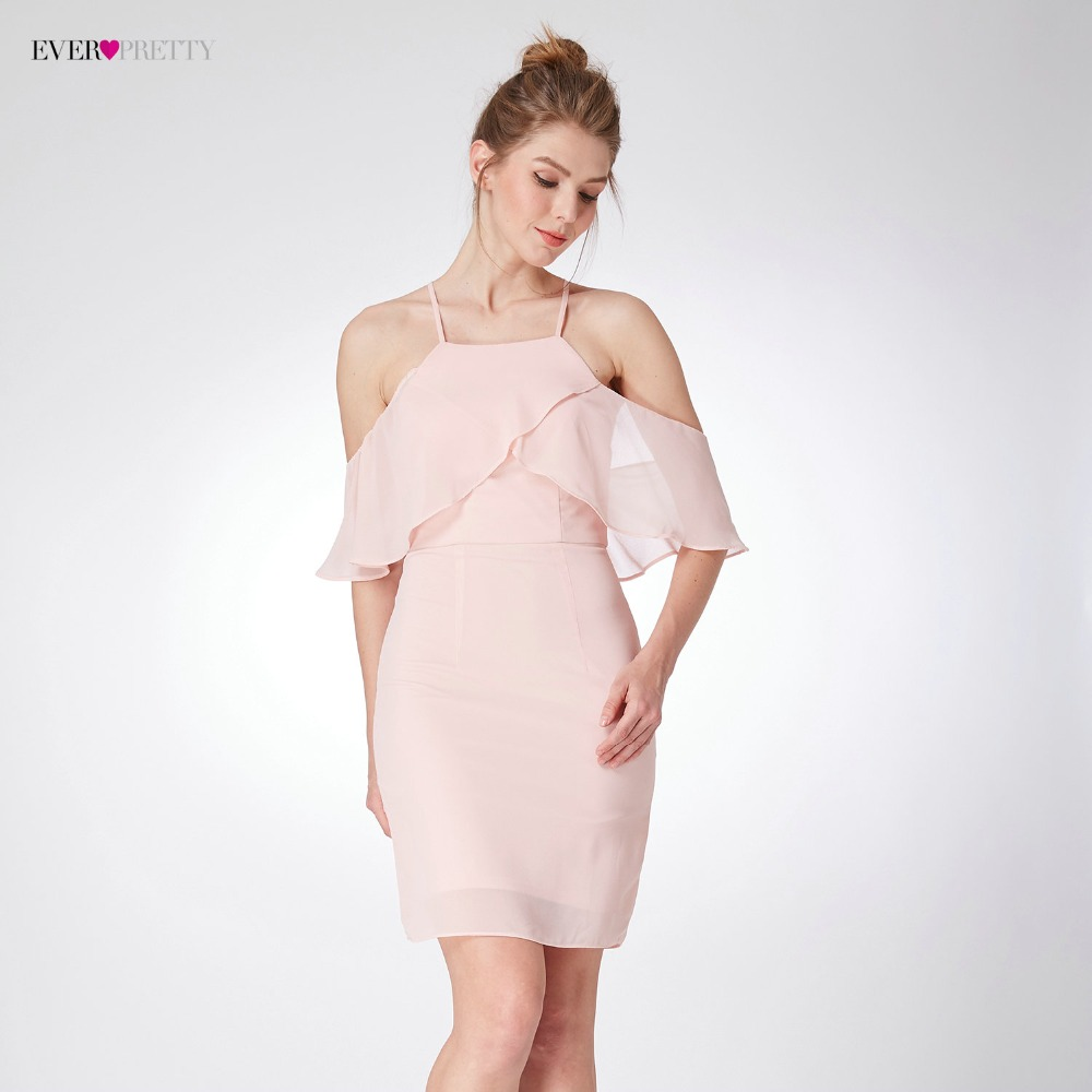 New Arrival Women's Elegant Bridesmaid Dresses Ever Pretty EP04053 Cold Shoulder Ruffles Short Bridesmaid Wedding Occation Dress