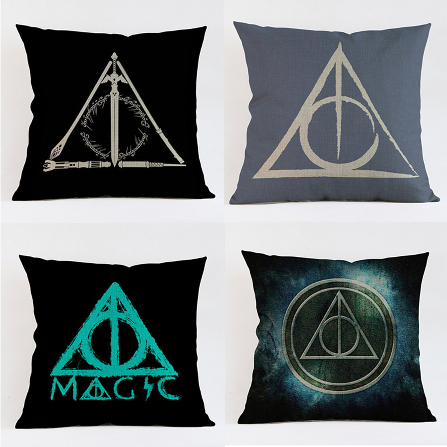 Harry Potter Motif Cushion Triangle Logo Style Throw