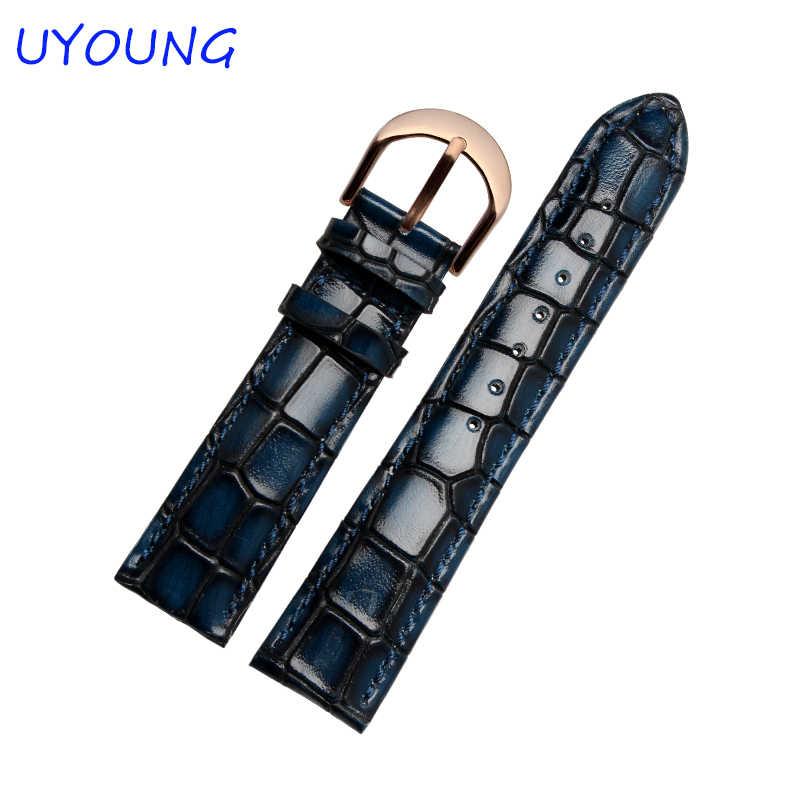 """רצועת השעון עור אמיתי באיכות 18 מ""""מ 20 מ""""מ עבור גברים נשים במבוק רטרו בצורת רצועת שעון"""