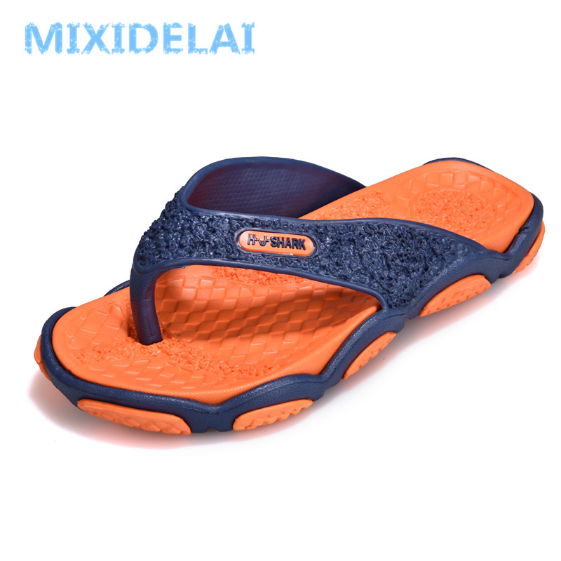 Summer Casual men's Flip Flops Flat Sandals Shoes For men Striped Flip Flops Beach Sandals Shoes Man Outside Shoes Big Size39-45(China)