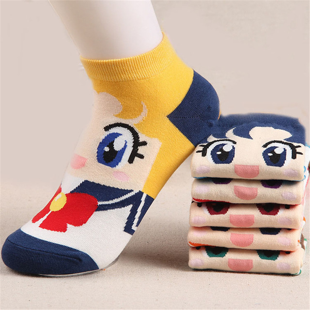 Hot 3D Animals Cute Cartoon Sock Sailor Moon Month Female Socks Harajuku Kawaii Cotton Kiss Woman Sokken Ankle Meias Sox