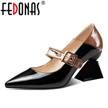 FEDONAS 2019 New Fashion Mixed Colors Buckle Women Pumps Spring Summer Genuine Leather High Heels Party Shoes Woman Mary Janes