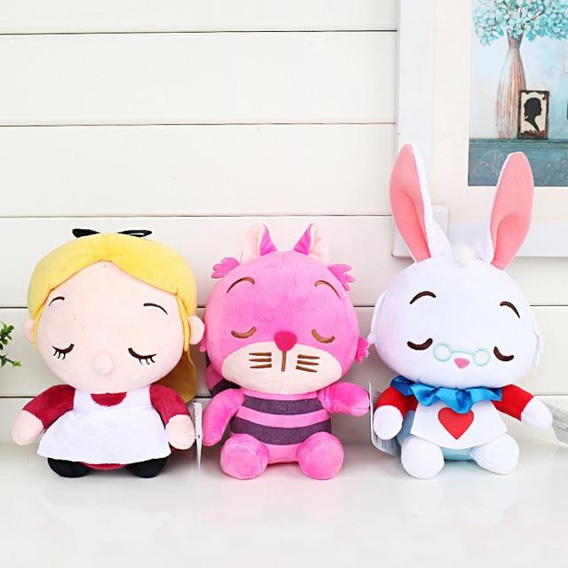 3 pçs/lote 20 centímetros Cheshire Cat Coelho Branco De Pelúcia Otário Pingente Bonecas Brinquedos de Pelúcia Presentes Dos Miúdos