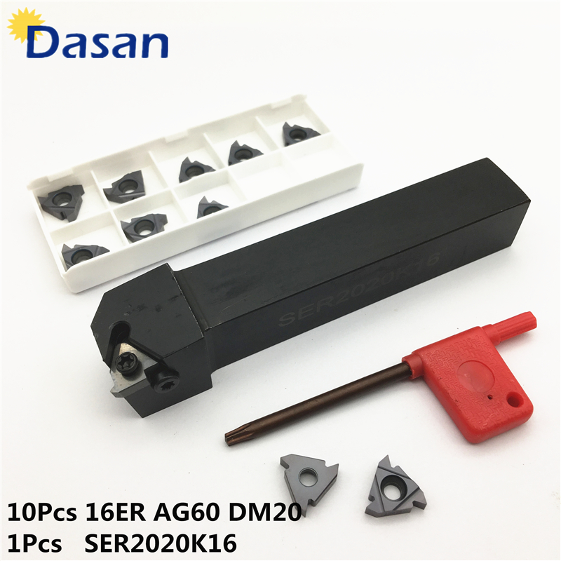 1pcs SER2020K16 External Threading Turning Tool Holder with10pcs CNC Carbide Threading Insert 16ER AG60 DM20 ser1616h16 holder external thread turning tool boring bar holder with 10pcs 16er ag60 inserts