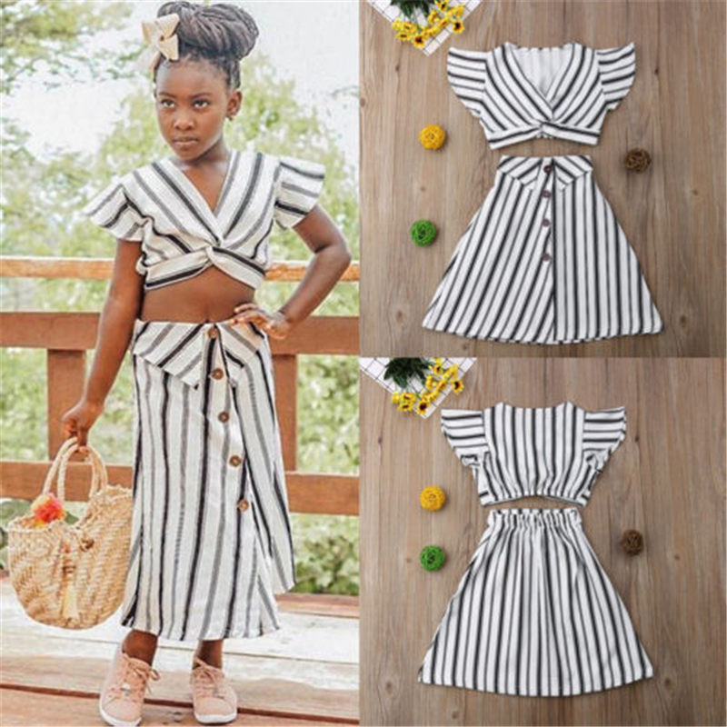 US Toddler Girls Crop Tops T-shirt+Skirt Outfit Clothes Kid Party Dress Sundress