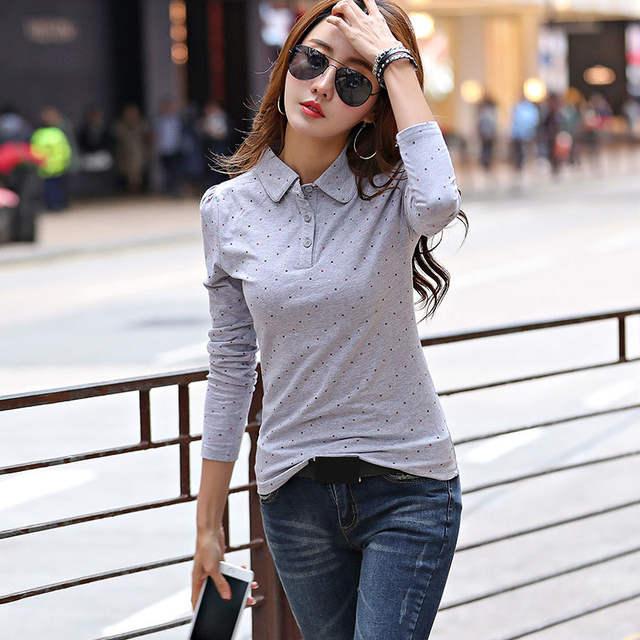 08fadde0eaa03 US $13.17 22% OFF|2019 Autumn Spring Polo Shirt For Women New Long Sleeve  Polo Top Polka Dot Slim Polos Mujer Women Shirts Tops Fashion Polo Femme-in  ...
