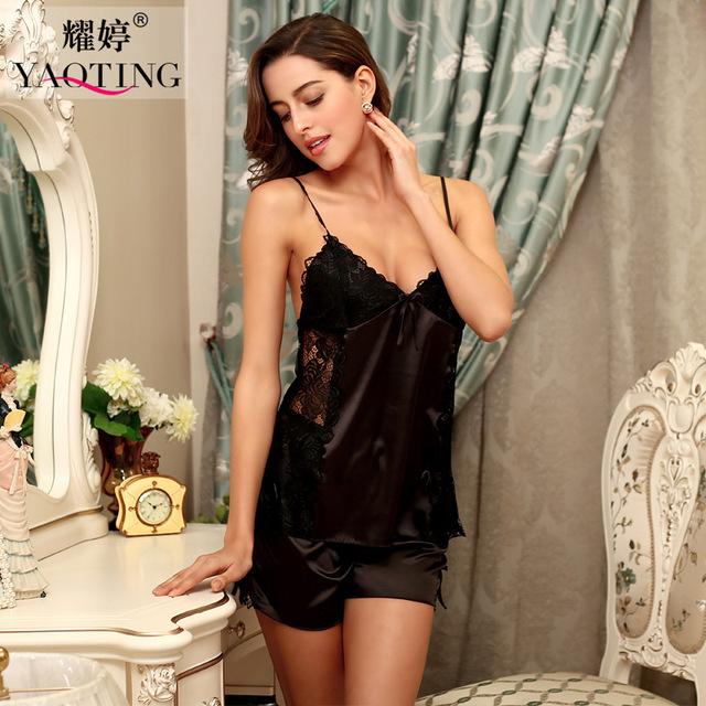 2016 mulher salão sono nightwear deslizamento femme verão pijama de cetim conjunto preto feminino desgaste da noite de seda senhora sleepwear lingerie de renda