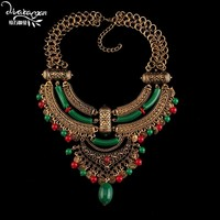 Dvacaman 2016 New Boho Craved Coin Maxi Necklace Exaggerated Evening Dress Pendant Necklace Retro Choker Collar