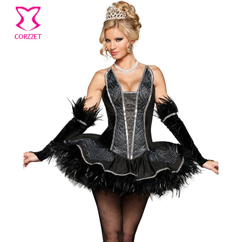 Plus Size Cosplay Costume Black Swan Queen Tutu Dress Sexy -7330