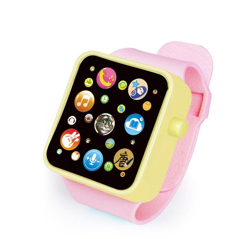 6 цветов, детская игрушка для раннего развития, наручные часы, 3D сенсорный экран, музыка, умное обучение, Лидер продаж, подарки на день рождения - Цвет: WARM RED