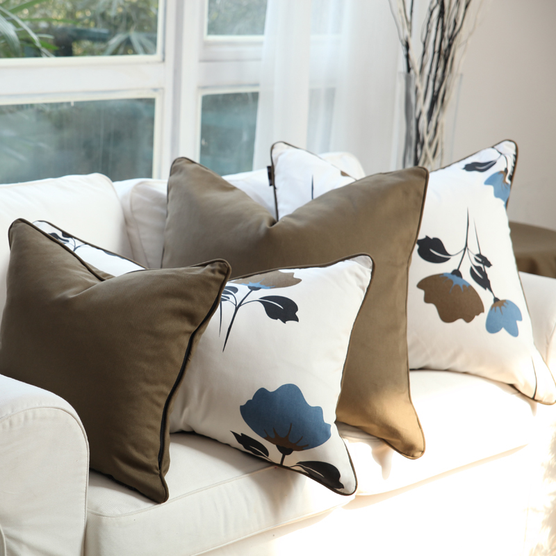 High Quality Cotton Cushion Cover Ginkgo Biloba Leaves Printed Pillow Case Cover Sofa Chair Home Decoration Without Stuffing