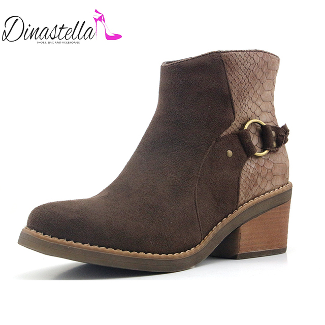Dinastella Chile 2018 Women's Zapato Heel Shoes Side Zipper Ankle Boots  Comfortable Rubber Boots Winter Concise