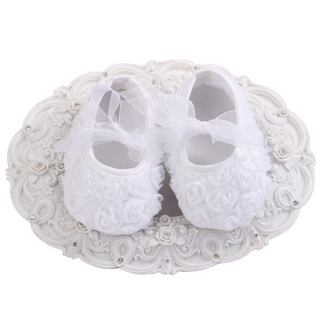 Online shop 4 pairlot ivory white flower girls baby shoes sapato 4 pairlot ivory white flower girls baby shoes sapato bebe prewalker infant christening girls shoes baptism lace ballerina shoes mightylinksfo