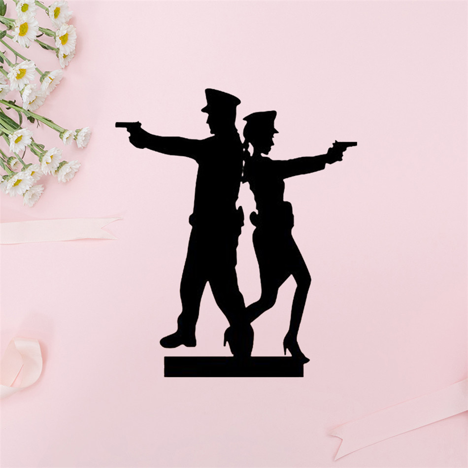 YaMinSanNiO Police Couple silhouette Cutting Dies DIY Metal Scrapbooking Craft Die Stencil Cake Decoration