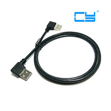 480M USB 2.0 Right Angled 90 degree male to left angled male data cable 1m Black 25cm 50cm 100(China)