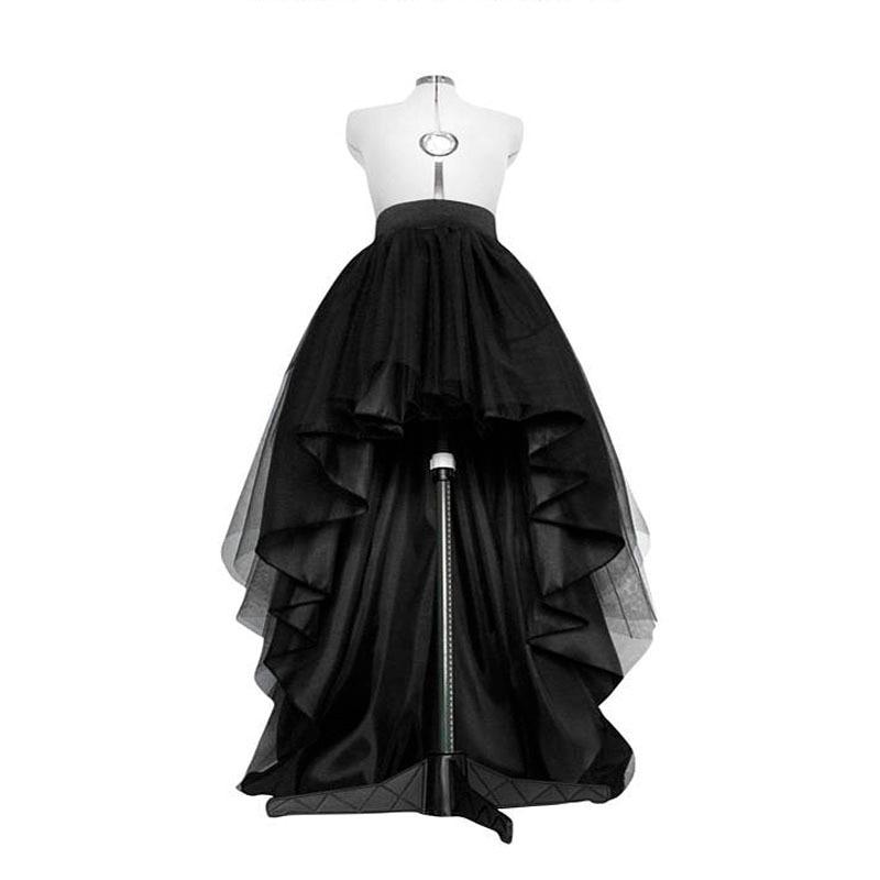 High Low Black Tulle Skirt Asymmetrial Hem Tutu Layered Wedding Bridal Gown High Waist Pleated Prom Skirt Gala Stylish Saia